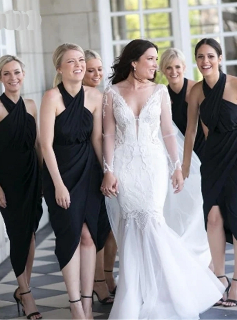 To Fit Your Style A-Line Black Halter Satin Tea Length Bridesmaid Dress