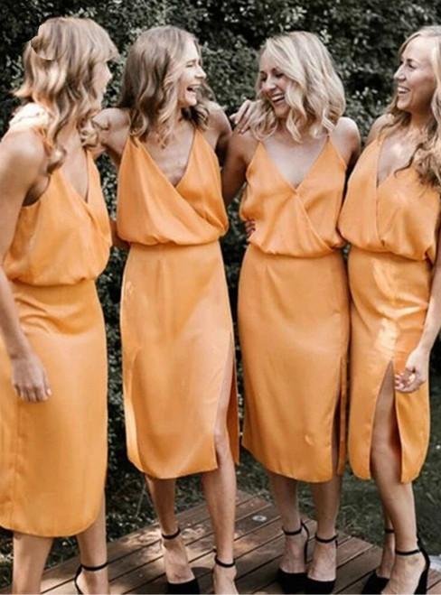 Fit Your Body Type A-Line Orange Satin Deep V-neck Tea Length Bridesmaid Dress