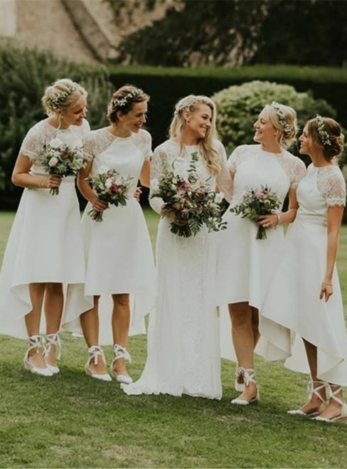 Fit Your Fashion Sense White Satin Lace Hi Lo Short Sleeve Bridesmaid Dress