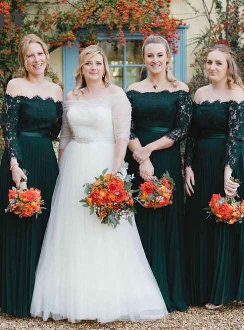 Come In a Wide Variety Of On-Trend Styles, Dark Green Chiffon Lace Off the Shoulder Long Sleeve Bridesmaid Dress