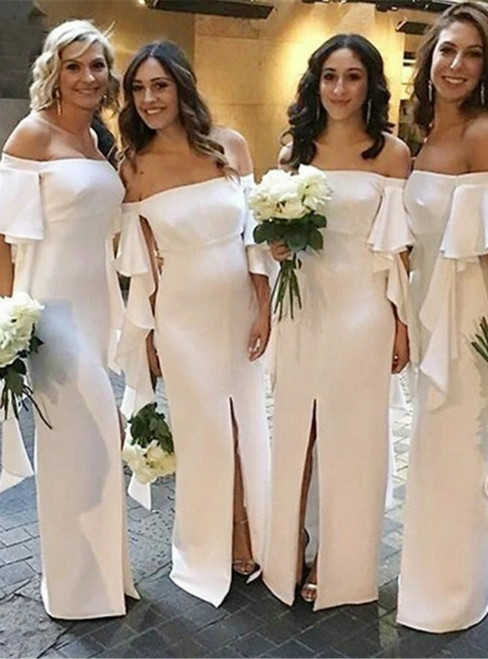 Will Be Available For Purchase White Satin Off the Shoulder Short Sleeve Front Slit Bridesmaid Dress