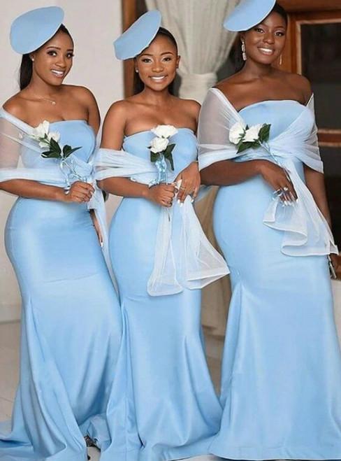 For You Next Prom Dance Light Blue Mermaid Satin Strapless Long Bridesmaid Dress