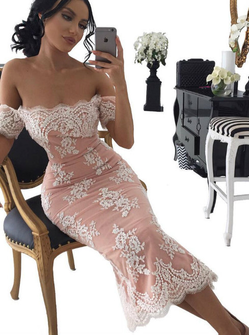 Off the Shoulder Sheath Lace Short Bridesmaid Gown Strapless Midi Dresses