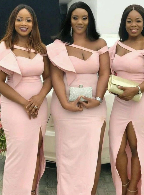 Looking For Cute And Stylish Pink Mermaid Satin Irregular Neck Bridesmaid Dress With Split