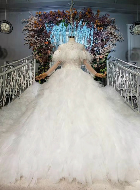 Shop For The Perfect White Ball Gown Tulle Long Sleeve High Neck Beading Wedding Dress
