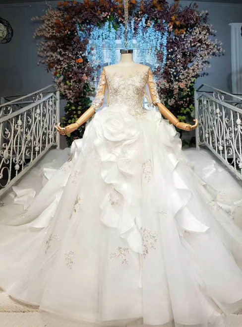 Shop Online White Ball Gown Tulle Satin Half Sleeve Ruffles Appliques Beading Sequins Wedding Dress