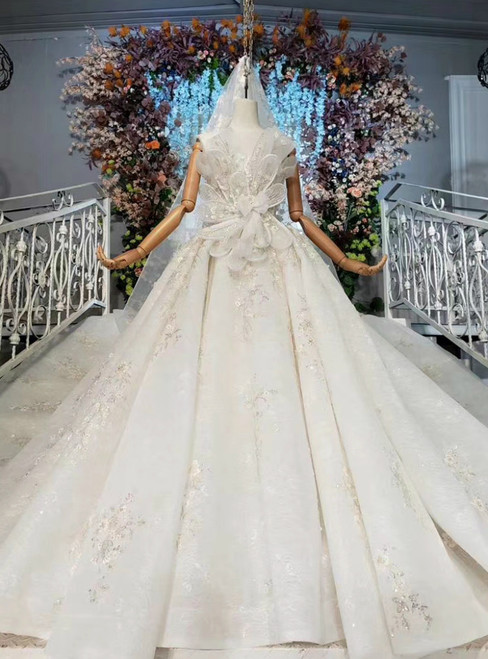 With Kemedress, You'Ll Find Ivory White Ball Gown Tulle Strapless Appliques Beading Wedding Dress