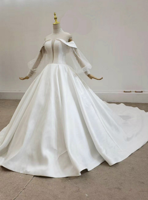 Shop An Amazing Selection Of White Ball Gown Satin High Neck See Through V-neck Wedding Dress