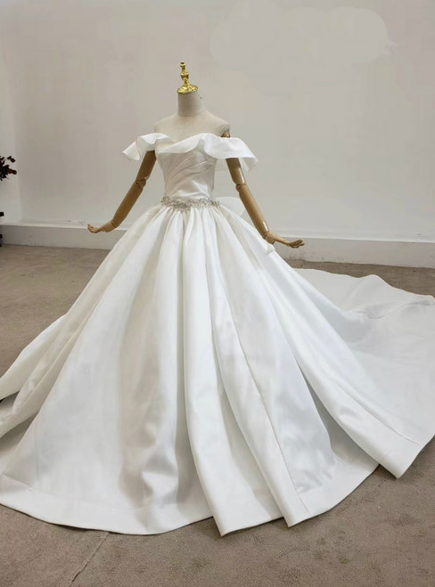Shop 2020 White Ball Gown Satin Off the Shoulder Pleats Beading Wedding Dress