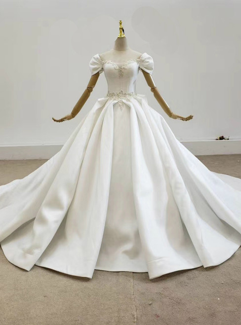 Take Center Stage In White Ball Gown Satin Square Neck Pleats Beading Wedding Dress With Bow