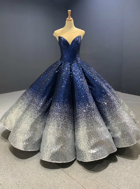 You'Ll Want Blue And Silver Ball Gown Sequins Cap Sleeve Prom Dress