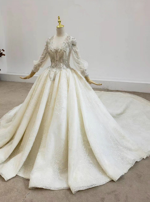 2020 Great Choice Champagen Ball Gown Tulle Sequins V-neck Long Sleeve Beading Wedding Dress