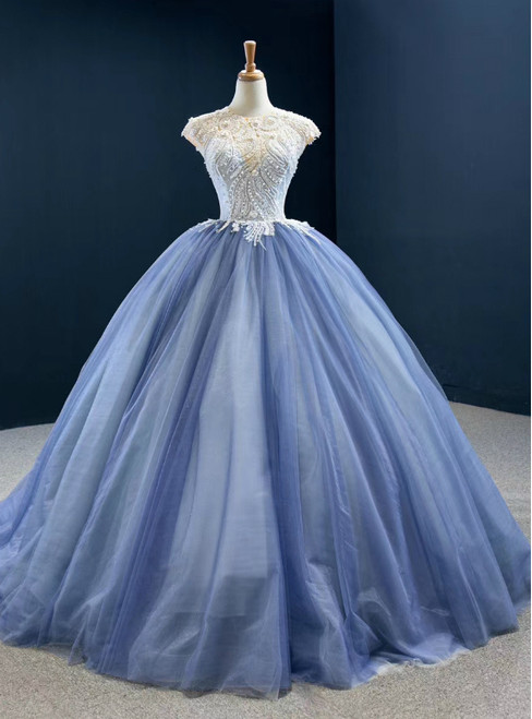 Biggest Sale Blue Ball Gown Tulle Cap Seeve Beading Long Prom Dress