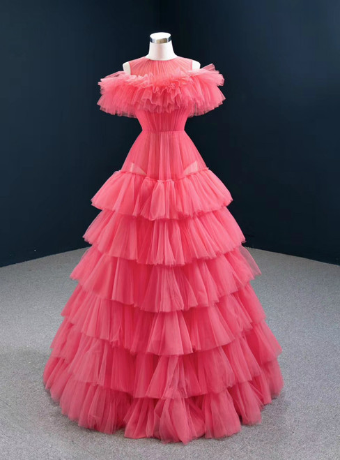 Find Plenty Of A-Line Red Tulle Pleates Tiers Long Prom Dress