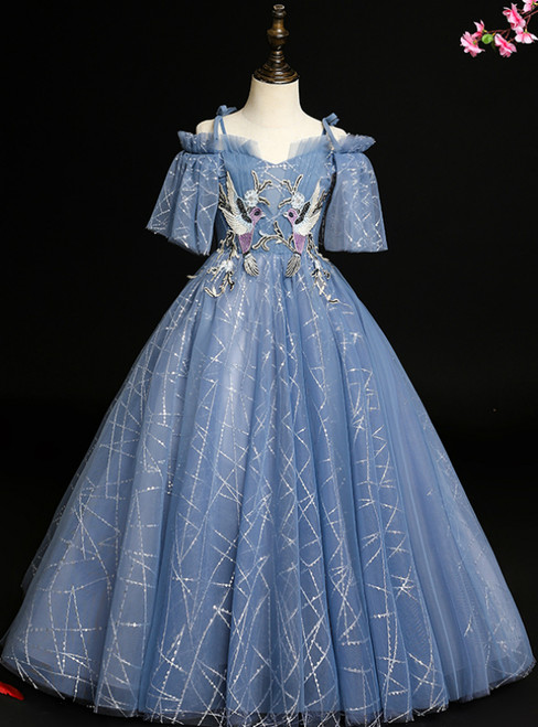 Custom Tailored Blue Ball Gown Tulle Sequins Spagehtti Straps Short Sleeve Flower Girl Dress