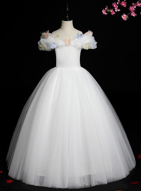 High Quality White Ball Gown Tulle Off the Shoulder Butterfly Flower Girl Dress