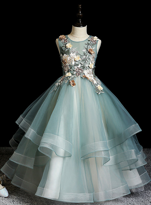 1000+ Styles Green Ball Gown Tulle 3D Appliques Beading Flower Girl Dress