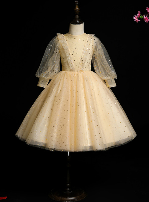 Low Price Guarantee Champagne Tulle Sequins Long Sleeve Flower Girl Dress