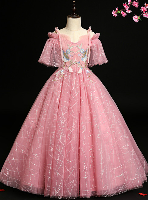 Buy More, Save More Pink Ball Gown Tulle Sequins Spagehtti Straps Short Sleeve Flower Girl Dress