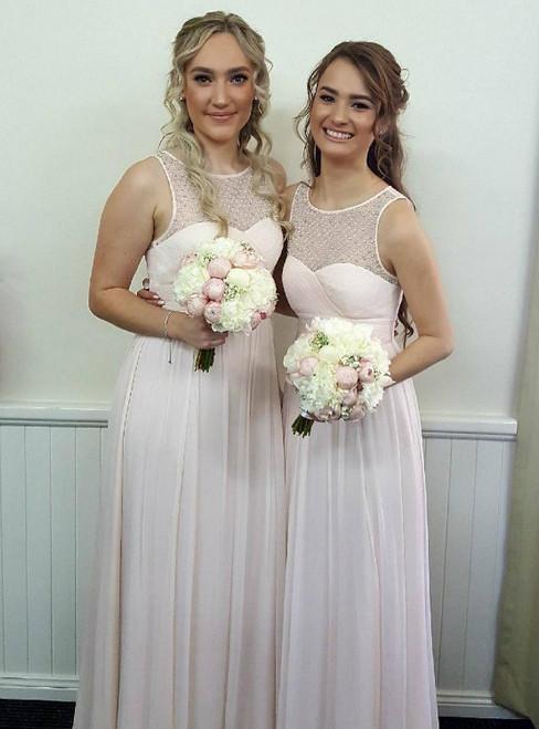 Crystal Beaded Scoop Sleeveless Chiffon Bridesmaid Dresses Floor Length