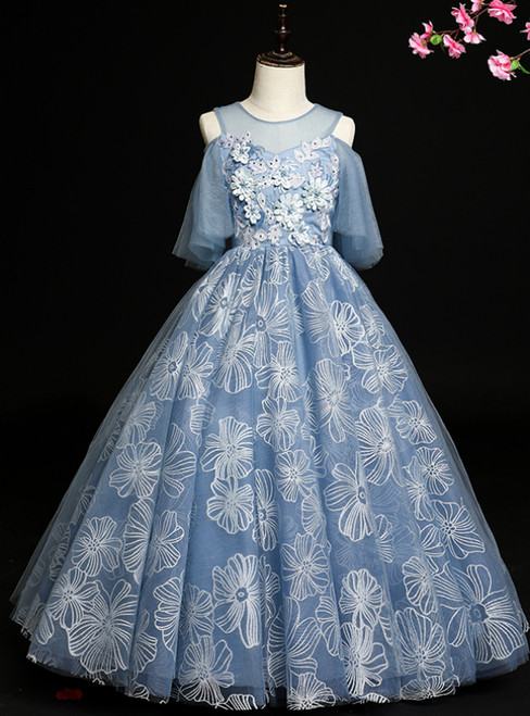 Largest Gray Blue Ball Gown Tulle Cold Shoulder Flower Girl Dress