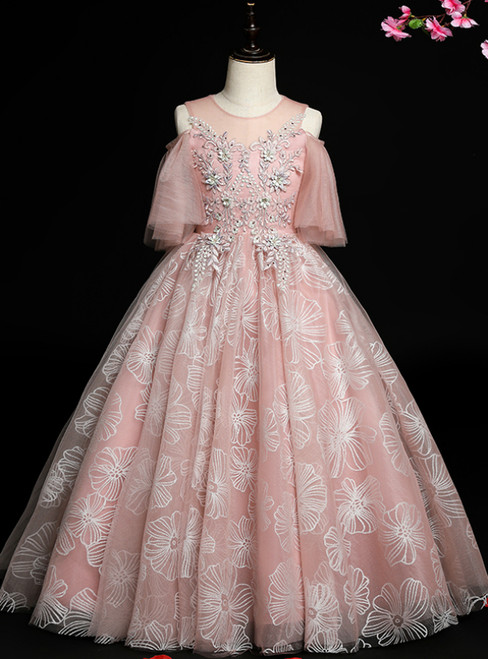 Find All Of The Latest Styles Pink Blue Ball Gown Tulle Cold Shoulder Flower Girl Dress