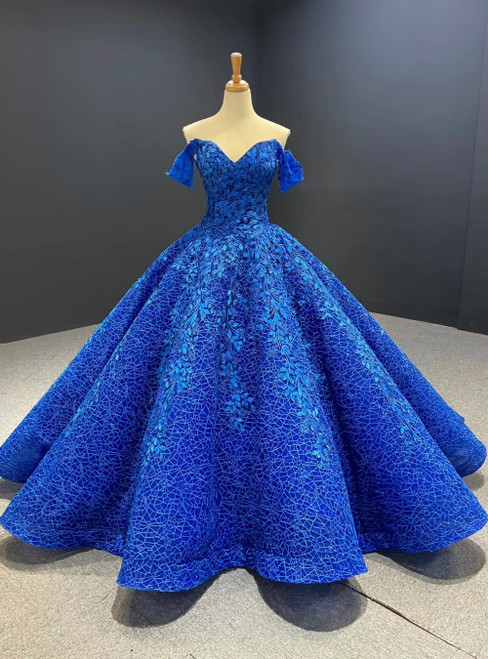 Shop Sexy Royal Blue Ball Gown Sequins Appliques Off the Shoulder Prom Dress