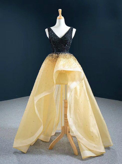 With 1000s Of Champagne Ball Gown Hi Lo Organza V-neck Beading Prom Dress