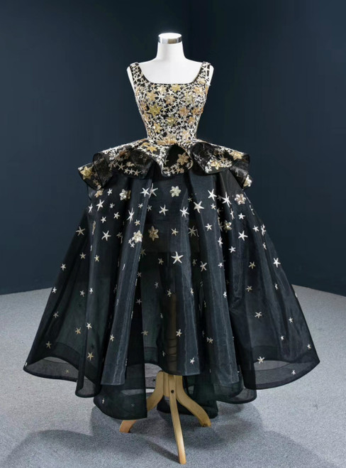 Be The Prom Queen Black Ball Gown Tulle Hi Lo Square Star Sequins Prom Dress