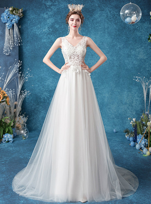 Browse Our Lovely In Stock:Ship in 48 Hours A-Line White Tulle Lace Wedding Dress