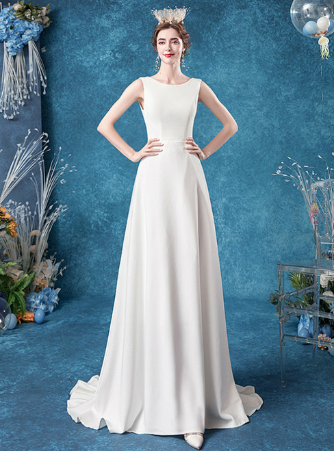 Don't Miss The Amazing & Affordable In Stock:Ship in 48 Hours White Chiffon Backless Sleeveless Wedding Dress