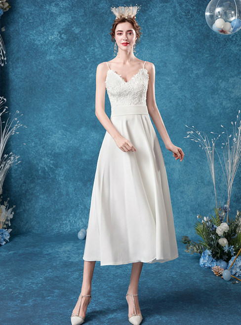 Amazing & Affordable In Stock:Ship in 48 Hours White Chiffon Spaghetti Straps Lace Wedding Dress