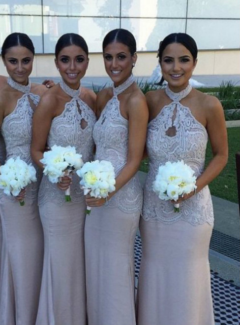 Halter Lace bridesmaid dress Chiffon bridesmaid dress cheap bridesmaid dress