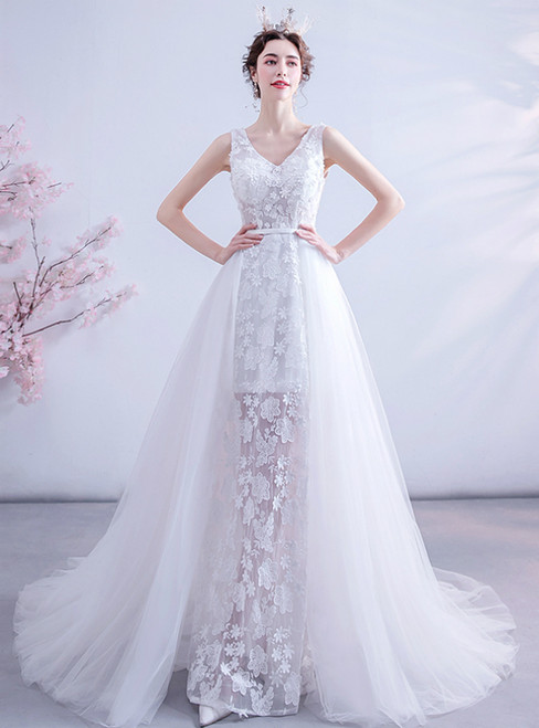 Shop This Selection Of In Stock:Ship in 48 Hours Sexy White Tulle V-neck Appliques Wedding Dress