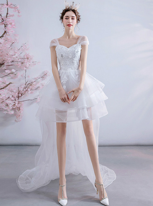 Stand Out With In Stock:Ship in 48 Hours White Tulle Hi Lo Appliques Wedding Dress