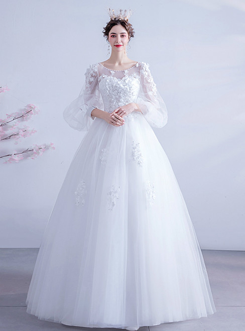 We Carry In Stock:Ship in 48 Hours White Ball Gown Tulle Appliques Puff Sleeve Wedding Dress