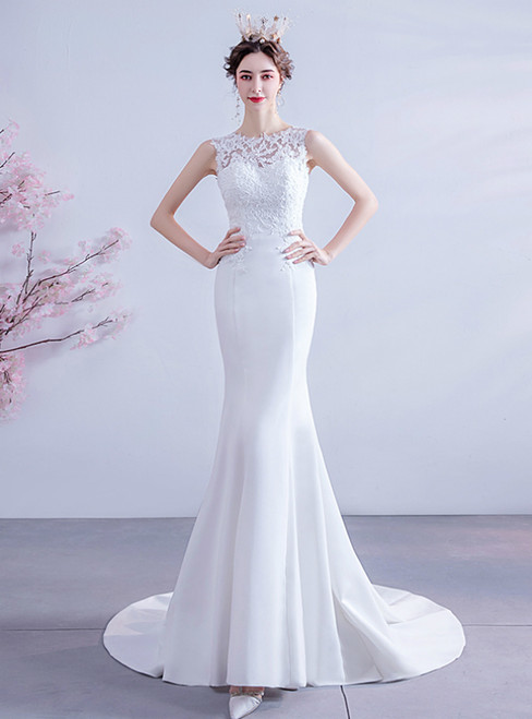 We Are The Destination For Affordable In Stock:Ship in 48 Hours White Mermaid Appliques Wedding Dress