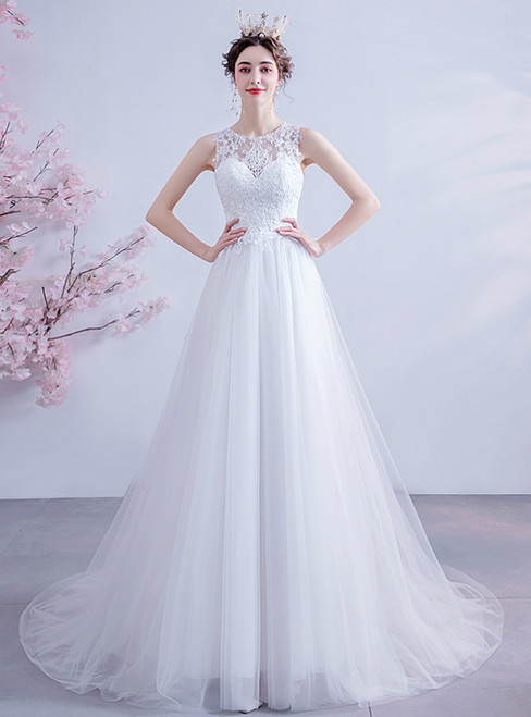 Wide Range Of In Stock:Ship in 48 Hours White Tulle Lace Appliques Sexy Back Wedding Dress