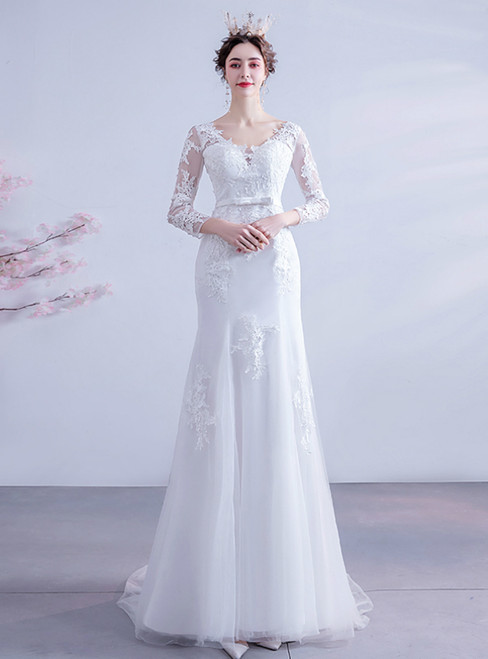 Affordable In Stock:Ship in 48 Hours White Mermaid Tulle Appliques Long Sleeve Wedding Dress