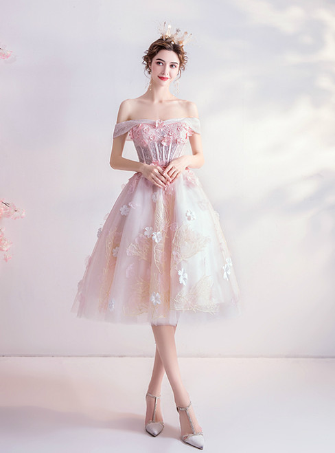 Long & Short Made-To-Measure In Stock:Ship in 48 Hours Pink Tulle Off the Shoulder Appliques Homecoming Dress
