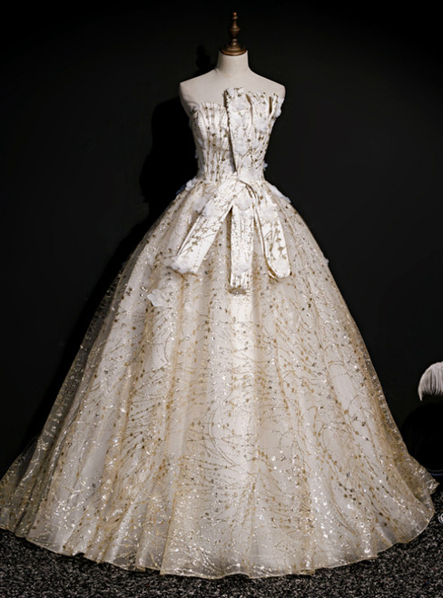 Individually Cut Gold Ball Gown Tulle Sequins Strapless Quinceanera Dress With Veil
