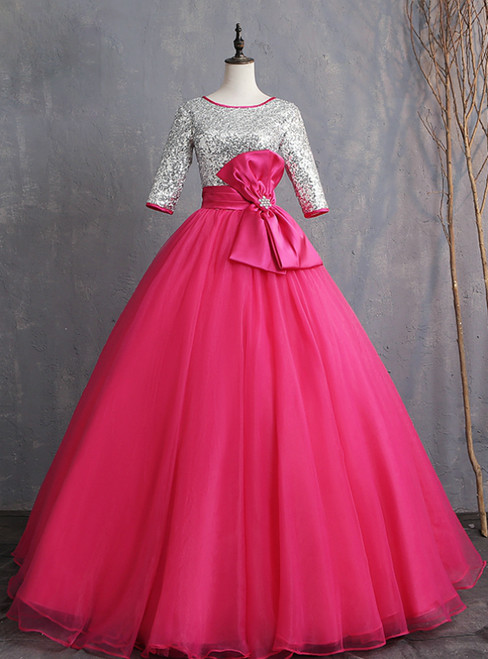 Instead, Opt For a Stylish Fuchsia Ball Gown Tulle Silver Sequins Short Sleeve Quinceanera Dress