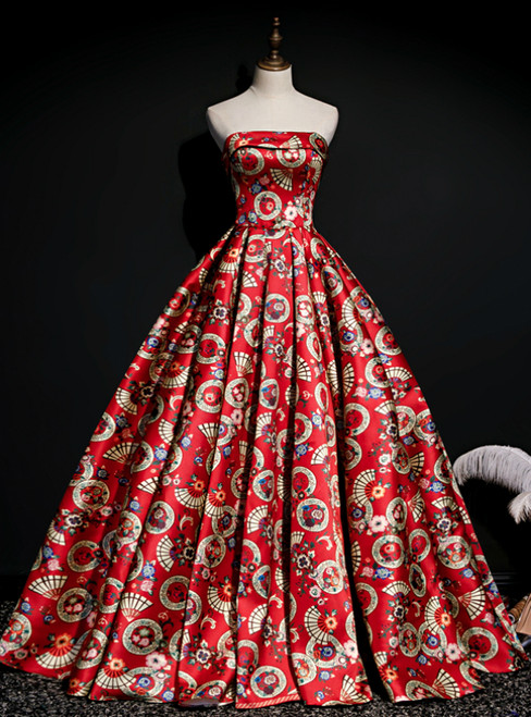 The Best Red Ball Gown Satin Strapless Print Pleats Quinceanera Dress With Train
