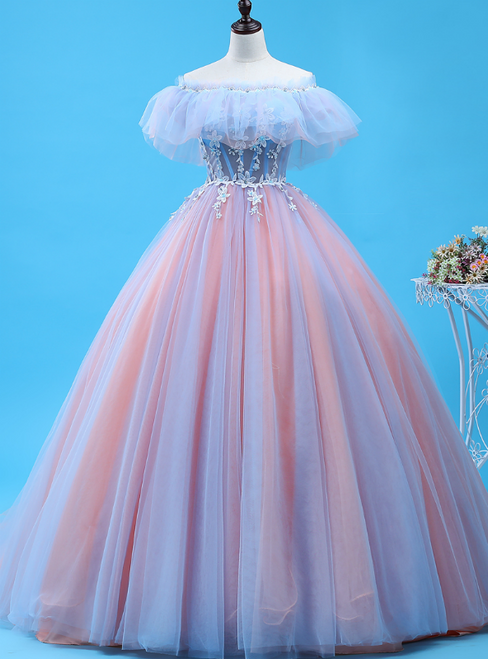 Shop Long Pink And Blue Ball Gown Tulle Off the Shoulder Quinceanera Dress