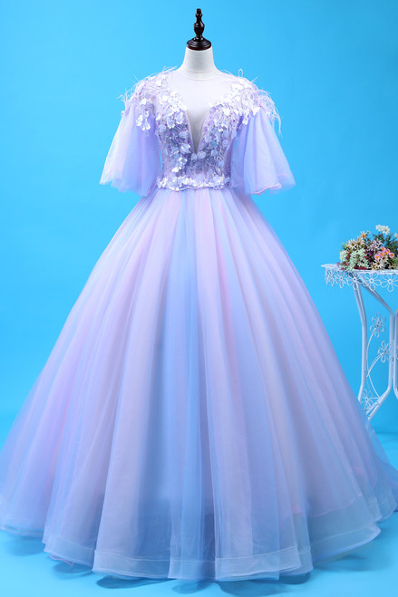 Buy The Newest Purple Ball Gown Tulle Backless See Through V-neck Appliques Quinceanera Dress