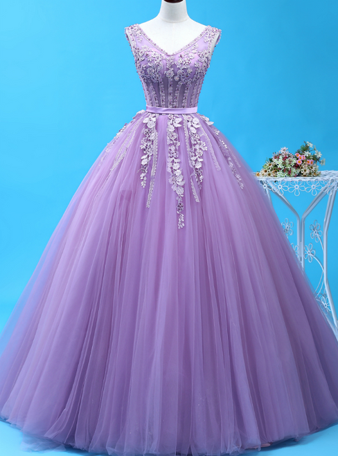Be The Prom Queen In Purple Ball Gown Tulle V-neck Appliques Beading Quinceanera Dress