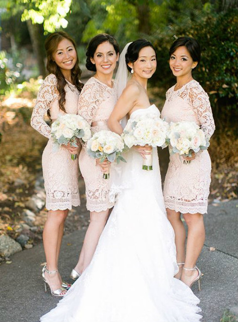 Knee Length Lace Sheath Bridesmaid Dress Wedding Party