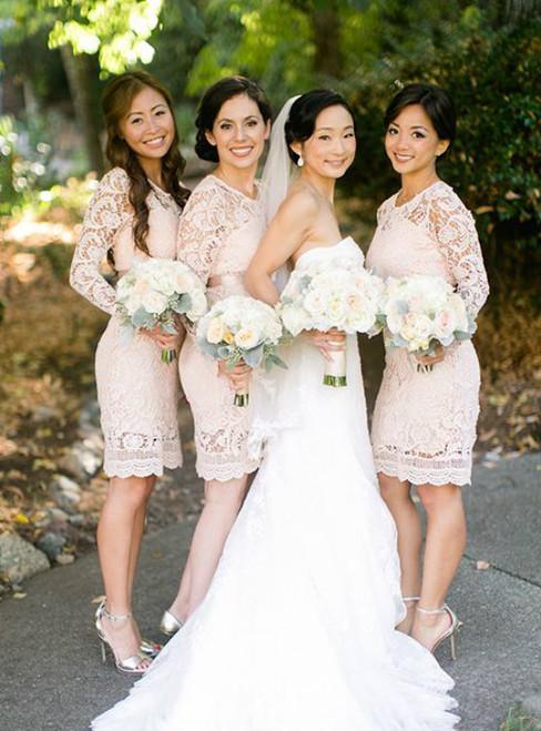 Knee Length Lace Sheath Bridesmaid Dress Wedding Party