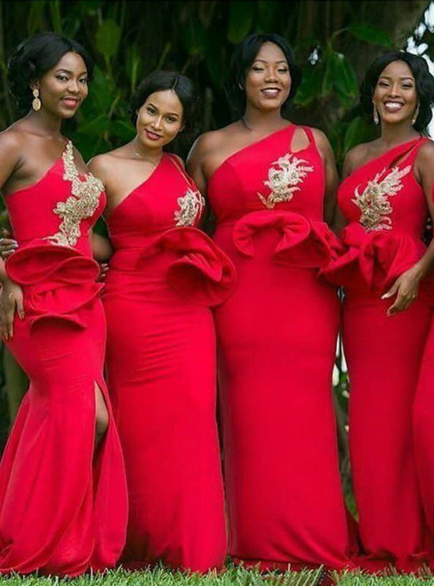 We Offer a Variety Of Red Mermaid Satin One Shoulder Appliques Bridesmaid Dress