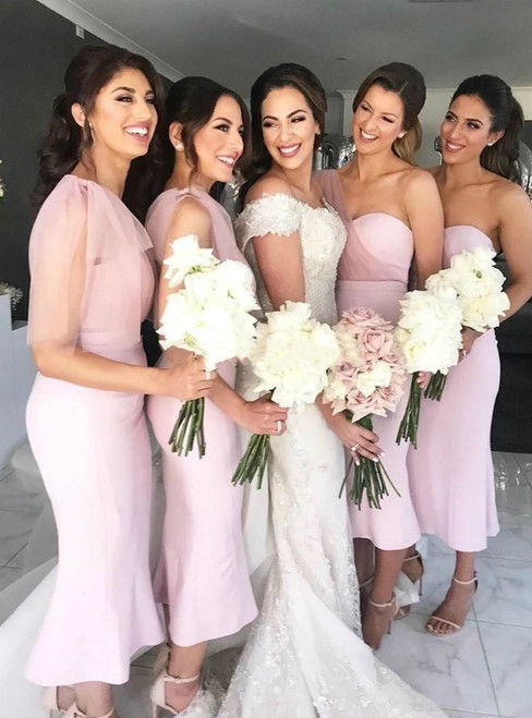 Best Discount And High Quality Pink Mermaid Satin One Shoulder Tea Length Bridesmaid Dress